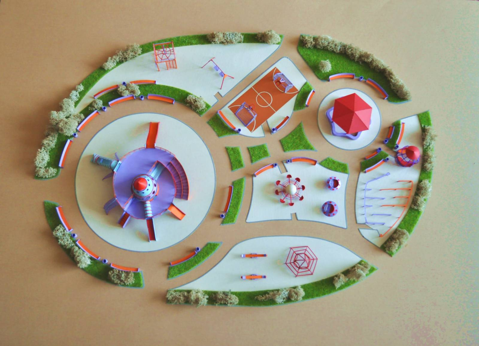 Как сделать макет детской площадки из бумаги своими руками 71